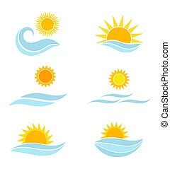 Sun and sea waves icons - Sun and sea icons Summer vector...