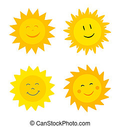 Suns with smile - Smiling suns collection. Vector...