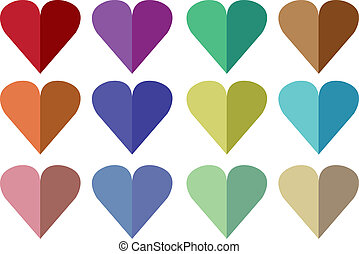 Origami Hearts - Vector illustration of hearts made from...