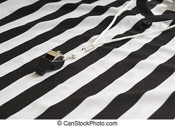 Referee Shirt with Whistle - A referee striped shirt with a...