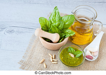 Pesto, typically Sicilian sauce made with basil fresh