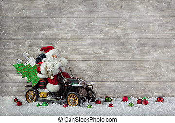 Christmas decoration: Red santa claus in hurry to buy...