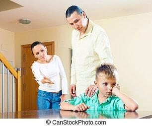 niño, regaño, foco, hijo, padres, Adolescente