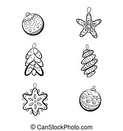Set of six Christmas toys - Set of six hand drawn Christmas...