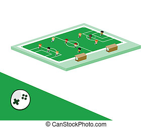 soccer block isometric cartoon character - block isometric...