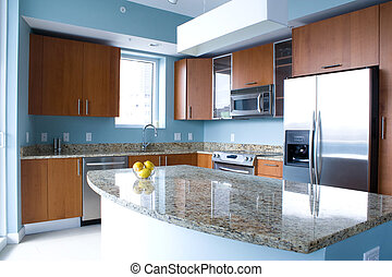 Modern kitchen - New modern kitchen interior with island in...