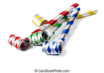 Party Noisemakers on White - A group of colorful party...
