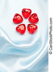 valentine decoration - red glassy decoration and heart for...