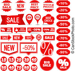 Sale Banners, Labels and Stickers - Collection of different...