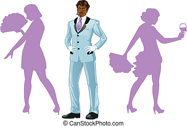 Attractive afroamerican man with corps de ballet dancers silhouettes