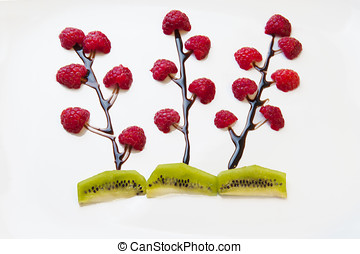 Flowers of raspberries - Flowers made with chocolate and...