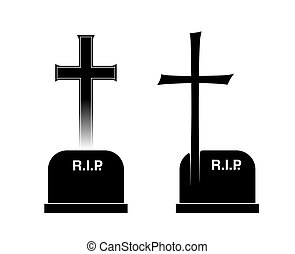 burial - two different tombstones with cross and inscription