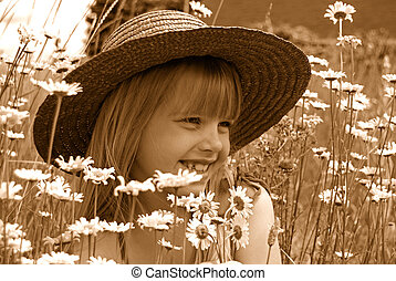 Childhood Moment - Little girl with hat in sepia tones