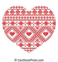 Ukrainian folk art heart pattern - Ethnic seamless Ukrainian...