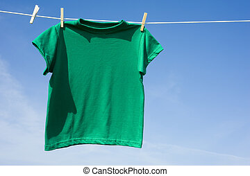 Green T-Shirt on a Clothesline