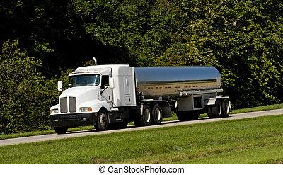 combustible, petrolero, camión, transporte