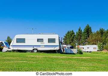 Camping with caravans in nature park - Camping life with...