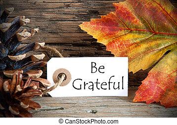 etiqueta, ser, agradecido