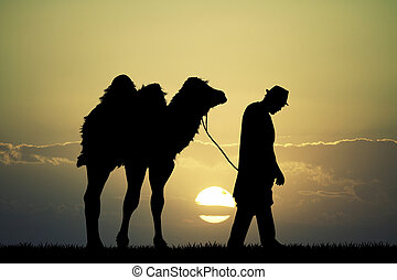 bedouin in the desert with camel - illustration of bedouin...