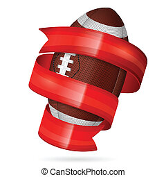 American Football Poster with Ball and Ribbon, vector...