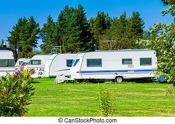 Modern caravan park. - Modern luxury mobile homes in a...