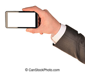Close up of man using mobile smart phone. Isolated on white...