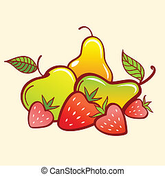 Strawberry, apple and pear