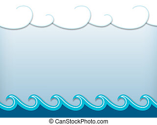 Nautical cartoon scenery - Paper waves and clouds, nautical...