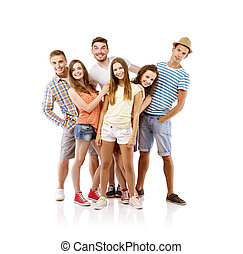 Group of young people posing - Group of happy young people...