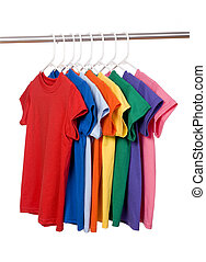 Colorful T-Shirts on White - A row of colorful row t-shirts...