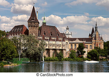 Vajdahunyad castle view from lakeside Budapest, Hungary