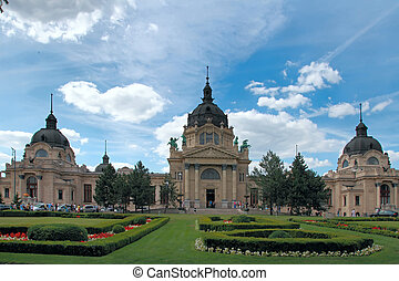 Szechenyi Medicinal Bath in Budapest, Hungary, is the...