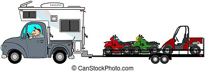 Truck with camper towing ATV's