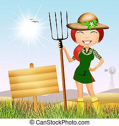 peasant girl - illustration of peasant girl