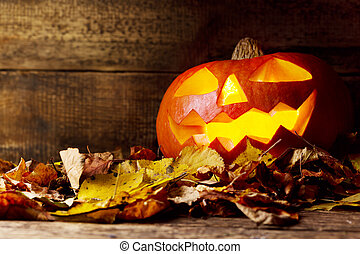 halloween pumpkin on wooden background