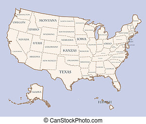 USA map with states names - vector USA map with states names