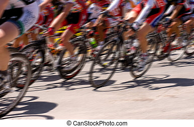 Bicycle Race - A bicycle race with motion blur, including...