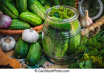 Jar pickles other ingredients pickling - Jar of pickles and...