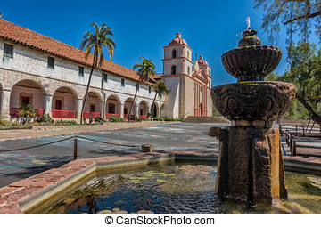 The historic Santa Barbara Spanish Mission in California