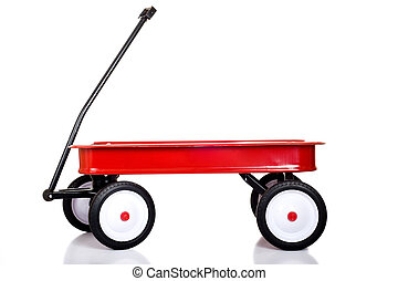 Little Red Wagon - A red little red wagon on a white...