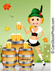 Oktoberfest girl serving beer - illustration of Oktoberfest...