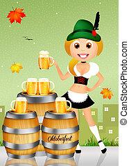 Oktoberfest girl serving beer - illustration of Oktoberfest...
