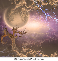 Mon rises above the clouds beyond dead tree charged with...