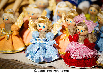 Colorful Belarusian Straw Dolls At The Market In Belarus -...