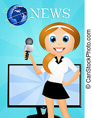 television news - illustration of television news
