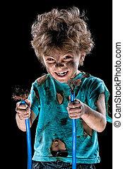Little electrician - Portrait of crazy little electrician...