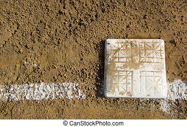 Empty base on baseball field - Empty base on chalked...