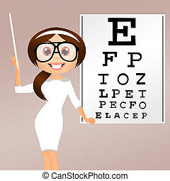 eye examination - illustration of eye examination