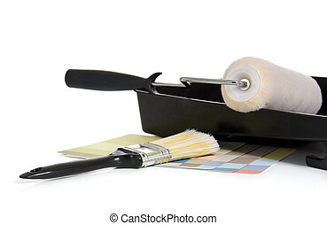 Painting Supplies on a White Background - Painting supplies...