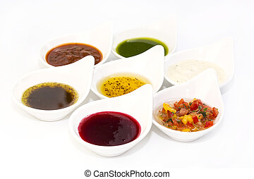 sauces on a white background in the restaurant